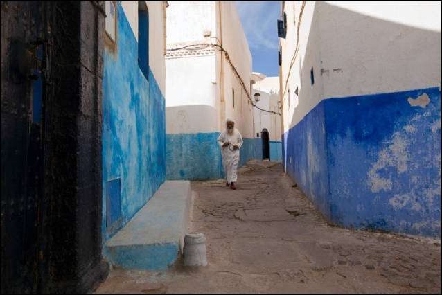 "An old man going to the mosque in the ""Casbah des Oudaïas. A very beautiful area of Rabat, one of its oldest area."