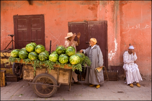A fruit seller in a street of old Marrakech