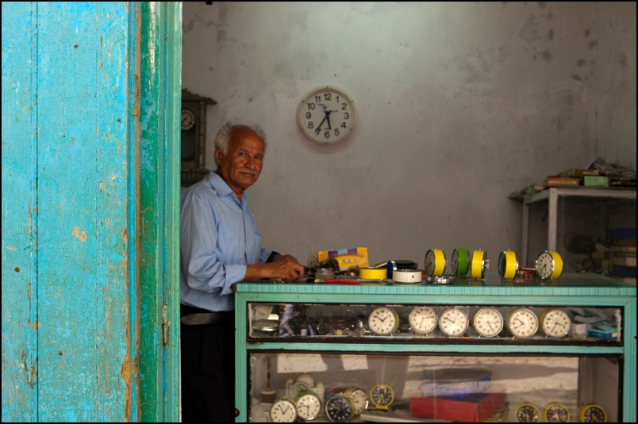 The clockmaker in in shop in the Tetouan Medina
