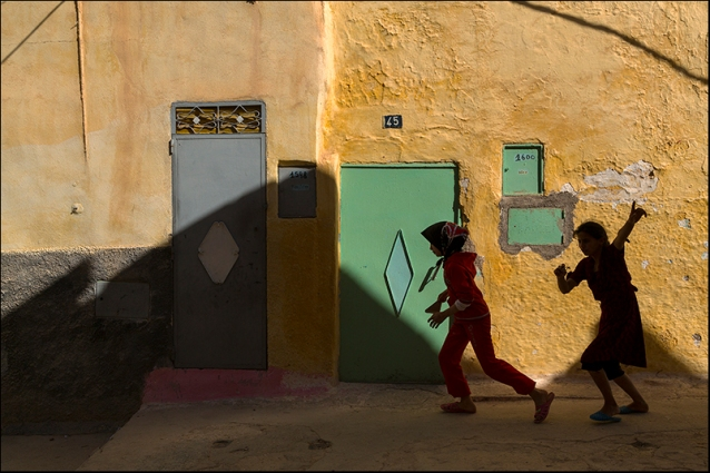 Running in a street of Balhil. Morocco
