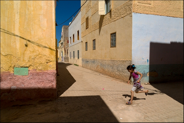 Running in a Moroccan village.